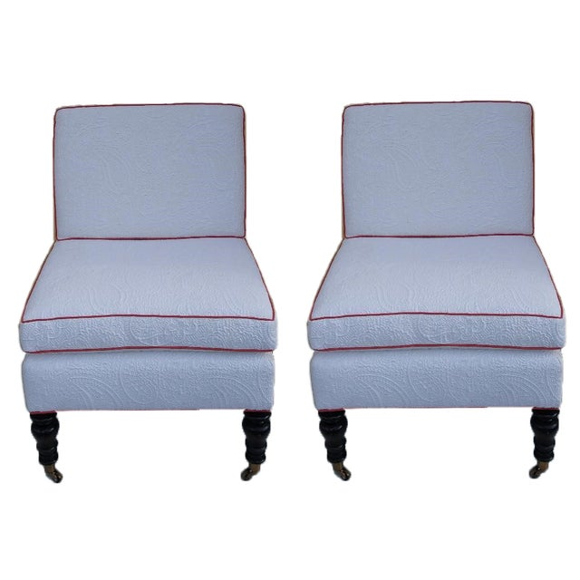 2010s Custom Brunschwig & Fils Slipper Chairs - a Pair For Sale - Image 5 of 5