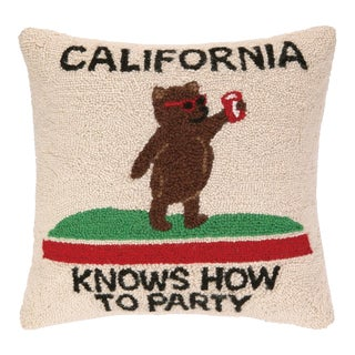 """California Party Hook Pillow, 18"""" x 18"""" For Sale"""