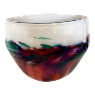 1991 Mouth Blown Vivid Color Modern Studio Bowl - Artist Signed For Sale