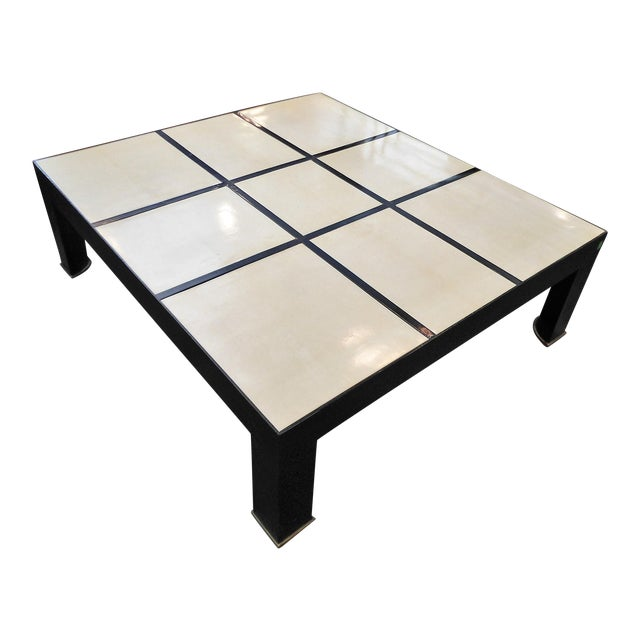 Garrison Rousseau Parchment & Bronze Wheeler Coffee Table - Image 1 of 7