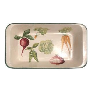 Italian Hand Painted Ceramic Vegetable Baking Dish/Serving Platter For Sale