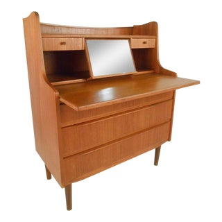 Scandinavian Modern Teak Vanity or Writing Desk