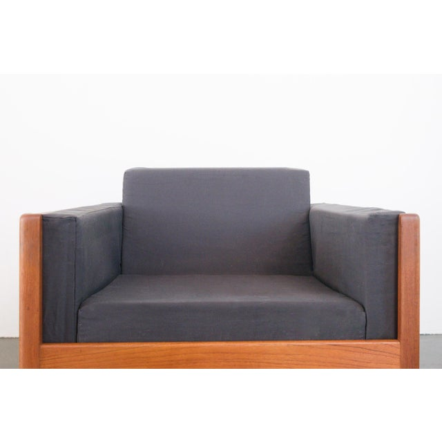 Cotton Danish Modern Upholstered Teak Chairs - a Pair For Sale - Image 7 of 10