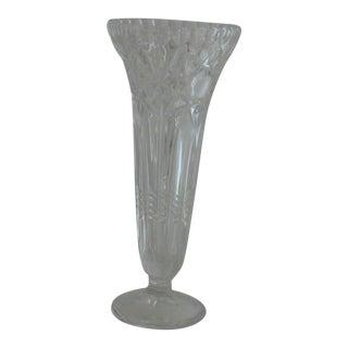 Antique Crystal Glass Trumpet Vase For Sale
