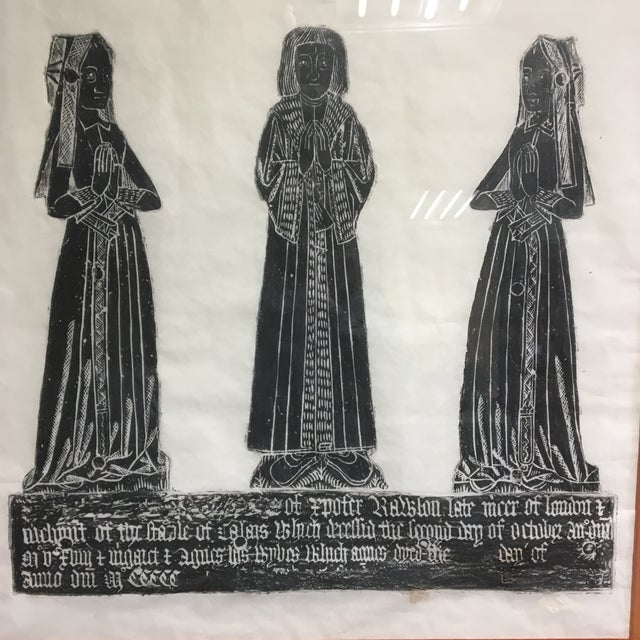 Gothic Medieval Brass Rubbing of Tombstone With Old English Inscription, Framed For Sale - Image 3 of 9