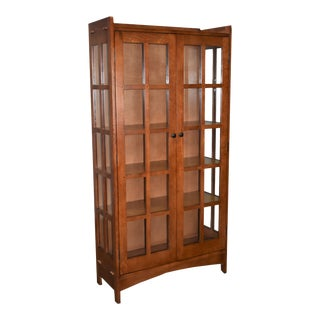 """Crafters and Weavers Mission Oak Display China Cabinet / Bookcase Golden Brown 39""""w For Sale"""