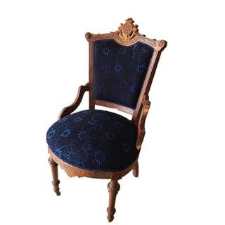 Antique Victorian Chairs W/Indigo Fabric - a Pair Preview
