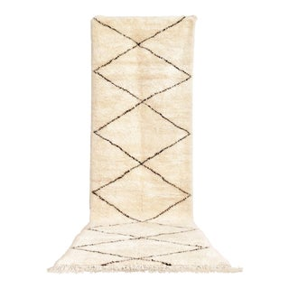 "Vintage Moroccan Beni Ourain Floor Rug Runner - 3'7'' x 11'10"""