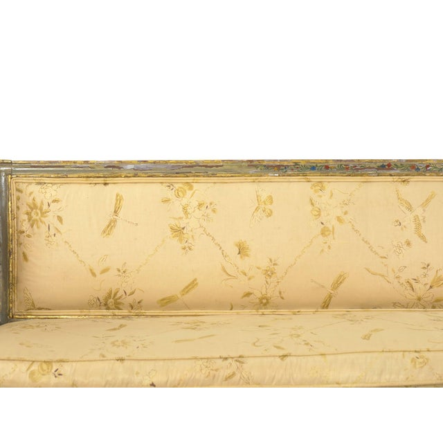 19th Century Italian Neoclassical Gray Polychrome Painted Settee Sofa Canape, Early 19th Century For Sale - Image 5 of 13