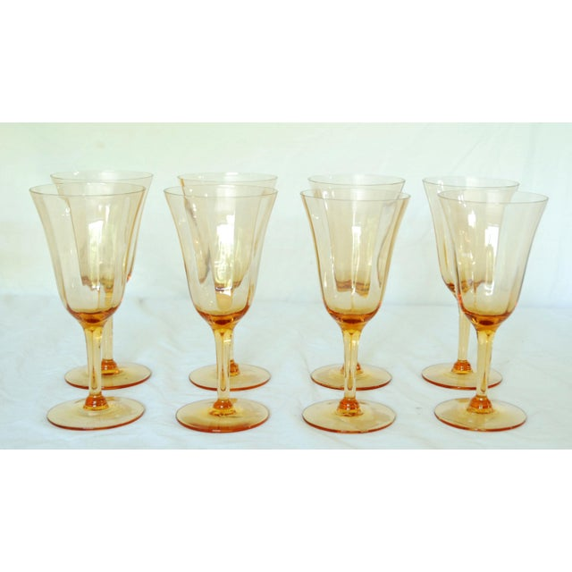 Vintage Crystal Amber Wine Glasses - Set of 16 For Sale - Image 4 of 4