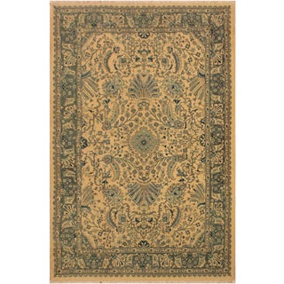 Istanbul Catrina Ivory/Lt. Green Turkish Hand-Knotted Rug -4'2 X 6'1 For Sale