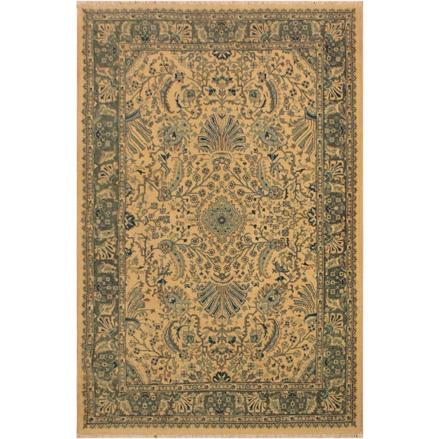 Semi Antique Istanbul Catrina Ivory/Lt. Green Turkish Hand-Knotted Rug -4'2 X 6'1 For Sale