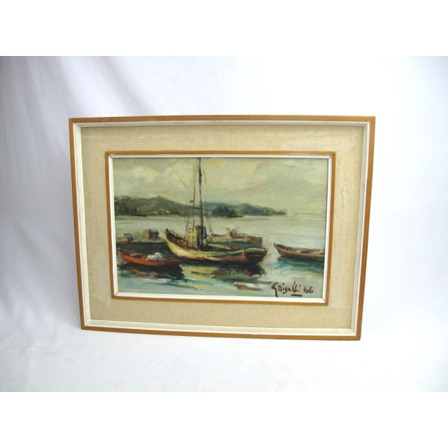 Wood 1960s Vintage Ottone Griselli Boats at Anchor Italian Maritime Scene Oil Painting For Sale - Image 7 of 7