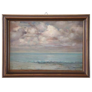 20th Century Important Italian Artist Oil Painting on Cardboard Seascape For Sale
