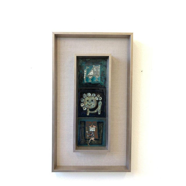 Italian Pair of Italian Studio Ceramic Tiles by Bruno Capacci For Sale - Image 3 of 9