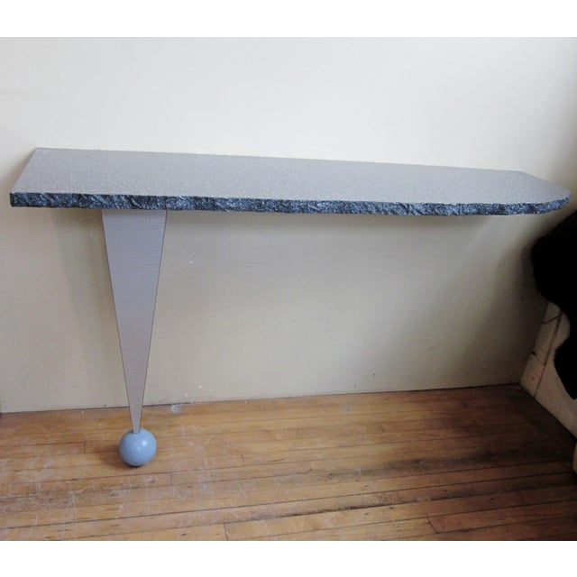Vintage Postmodern Custom Made Memphis Design One-Legged Console Table For Sale - Image 13 of 13