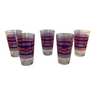 Red & Blue Stripes Glasses - Set of 5