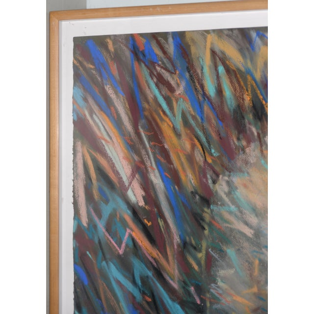 Abstract Richard Overstreet (American, 20th C.) Reclining Figure Pastel Painting C.1980 For Sale - Image 3 of 11