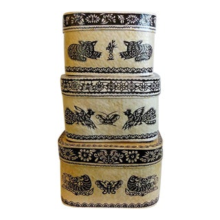 Vintage Chinese Paper Mache Nesting Boxes For Sale
