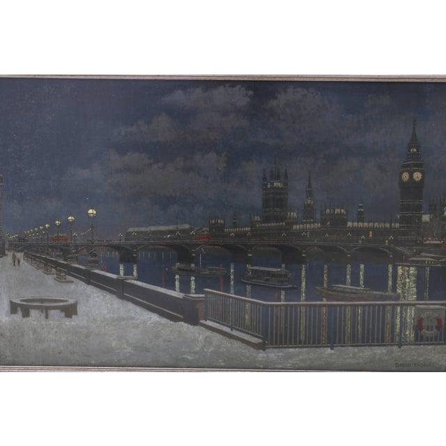 """London Bridge at Night"" Acrylic Painting by David Thomas For Sale - Image 4 of 10"
