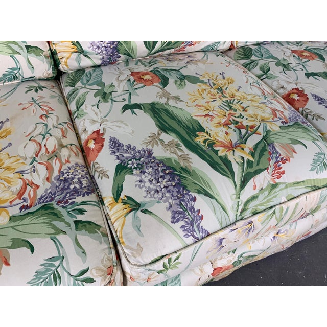 Blue Pair of Floral Upholstered Sofas by Robb and Stucky For Sale - Image 8 of 10
