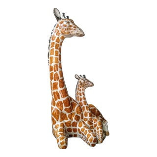 Italian Ceramic Giraffe Mother and Child
