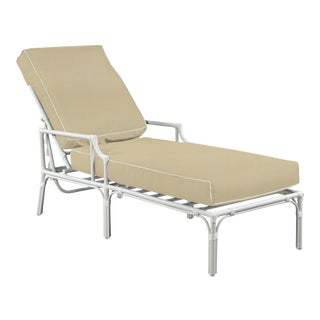 Haven Outdoor Chaise, Antique Beige and White For Sale