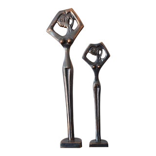 1950s Aged Brass Modern Art Female Nude Sculptures - Set of 2 For Sale