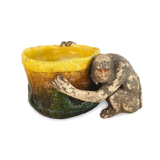 English Victorian 'Majolica' Porcelain Basket Form Jardinière For Sale - Image 9 of 9