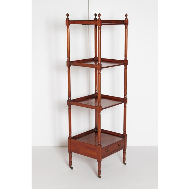 George III Four-Tier Mahogany Whatnot With Drawer For Sale In Dallas - Image 6 of 13