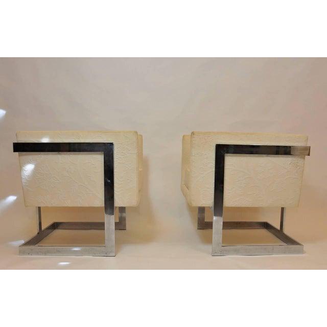 Pair of Milo Baughman petit cube chairs.