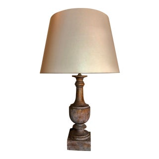 Architectural Finial Wood-Like Table Lamp For Sale