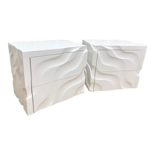 Modern 3D Curved White Nightstands - a Pair For Sale