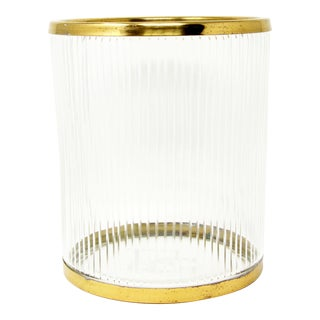 Vintage Cut Glass & Brass Champagne Ice Bucket - Pair Available For Sale