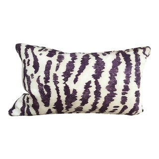 "Transitional Custom Down-Filled Lumbar Schumacher's ""Animaux"" Covered Pillow -20x12"" For Sale"