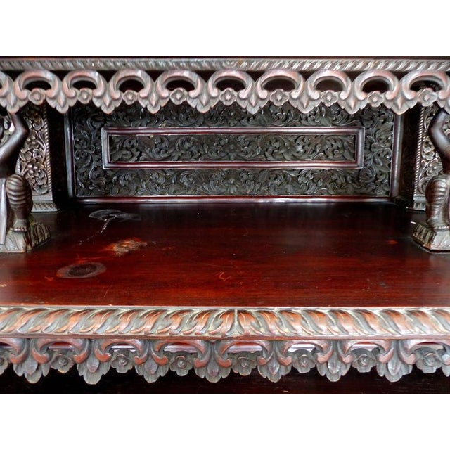 19th Century Burmese Over-Scale Carved Rosewood Anglo-Indian Sideboard For Sale - Image 9 of 11