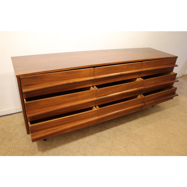 Mid-Century Danish Modern Elongated Concave-Front Walnut Credenza #137 - Image 7 of 12