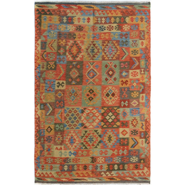 "Kilim Arya Edison Red/Green Wool Rug - 5'7"" X 7'10"" For Sale In New York - Image 6 of 6"