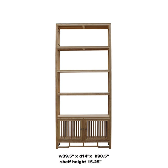 This is a simple design bookcase display cabinet using natural raw wood. There are three open shelves for display and...