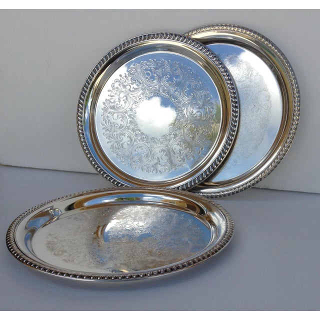 Large Silver Plate Round Platter Trays -Set of 3 - Image 2 of 11