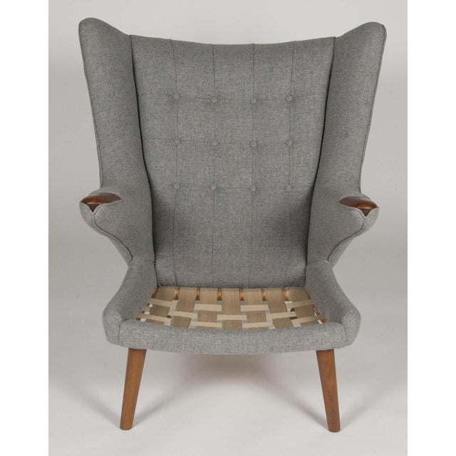 A Hans Wegner Papa Bear Chair With Stool Produced by a.p. Stolen For Sale - Image 9 of 10