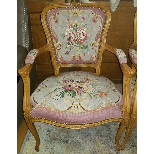 1960s Vintage Needlepoint French Chairs - a Pair For Sale - Image 10 of 11
