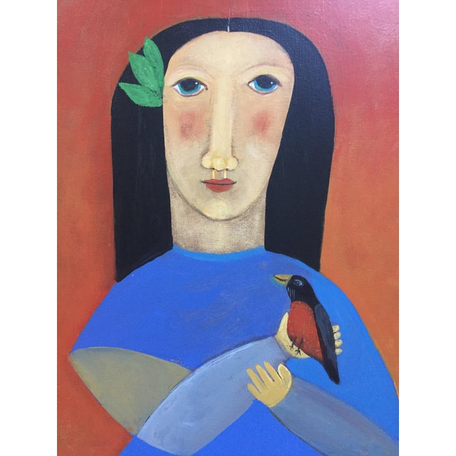 "Contemporary Folk Painting ""Robin"" - Image 4 of 5"