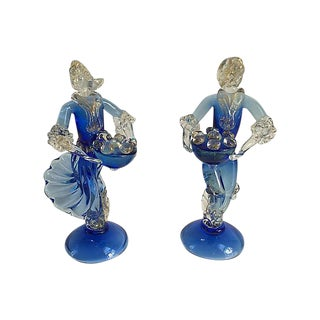 Murano Barovier Blue and Gold Figurines - a Pair For Sale