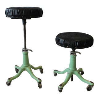 1930's Vintage American Adjustable Swivel Stools- A Pair For Sale