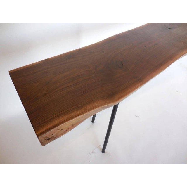 Black Dos Gallos Studio Black Walnut Console With Iron Legs For Sale - Image 8 of 9