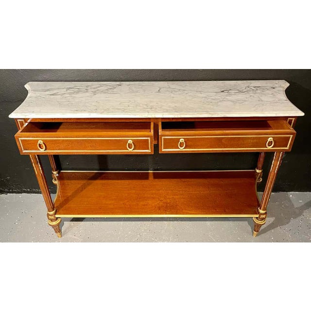 Late 20th Century Pair of Louis XVI Style Marble Top Consoles / Sideboards in the Jansen Manner For Sale - Image 5 of 13