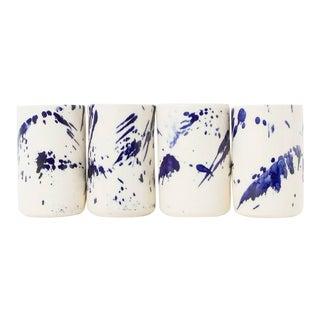Indigo Splattered Tumbler - Set of 4 For Sale