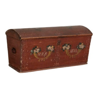 Antique Original Red Painted Swedish Dome Top Trunk For Sale