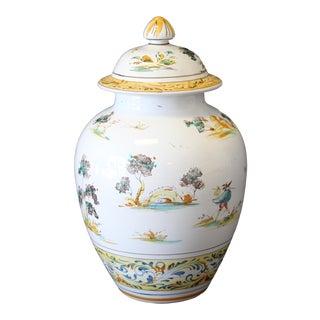 Vintage Ernan Italian Hand Painted Ceramic Lidded Urn For Sale